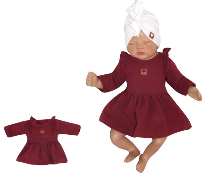 Z & Z Detské teplákové šatôčky/tunika Princess - bordó, veľ. 74