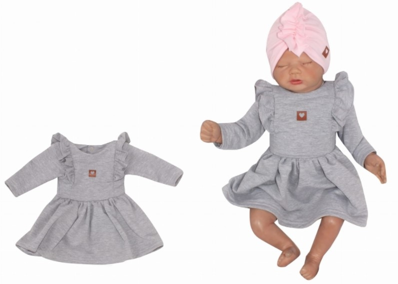 Z & Z Detské teplákové šatôčky/tunika Princess - sivé, veľ. 80-#Velikost koj. oblečení;80 (9-12m)