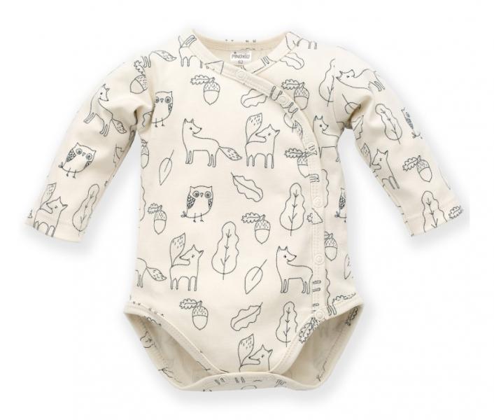 Pinokio Body dlhý rukáv, zapínanie bokom Forest - ecru s potlačou-#Velikost koj. oblečení;56 (1-2m)