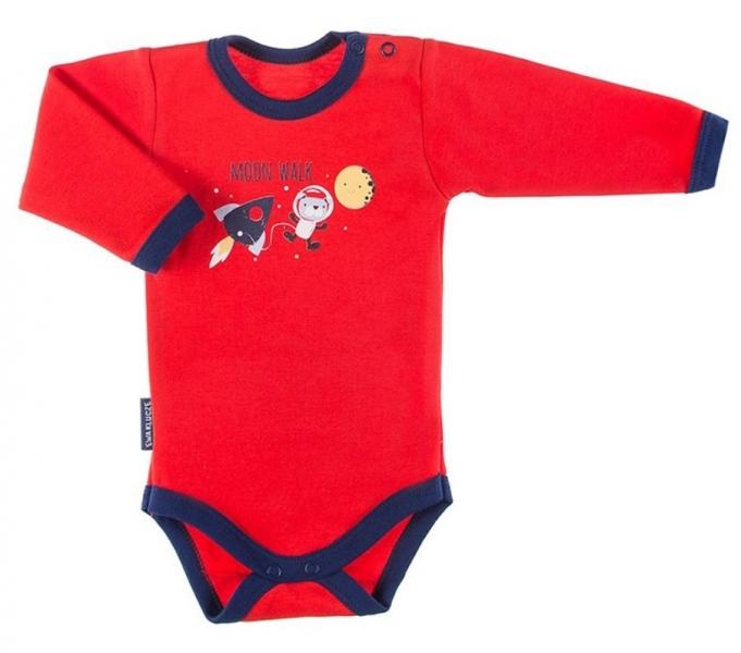 EEVI Dojčenské body dl. rukáv, zapínanie pri krku Cosmos - červené s potlačou, veľ. 80-#Velikost koj. oblečení;80 (9-12m)