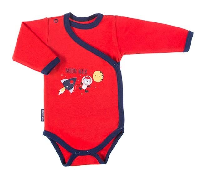 EEVI Dojčenské body dl. rukáv, zapínanie bokom Cosmos - červené s potlačou