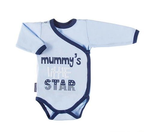 EEVI Dojčenské body dl. rukáv, zapínanie bokom Mummy´s little star - modré, veľ. 62-#Velikost koj. oblečení;62 (2-3m)