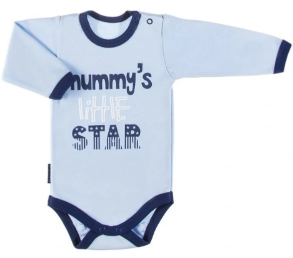 EEVI Dojčenské body dl. rukáv, zapínanie u krku Mummy´s little star - modré-#Velikost koj. oblečení;68 (4-6m)