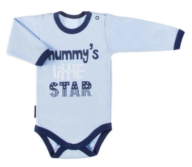 EEVI Dojčenské body dl. rukáv, zapínanie u krku Mummy´s little star - modré, veľ. 74-#Velikost koj. oblečení;74 (6-9m)