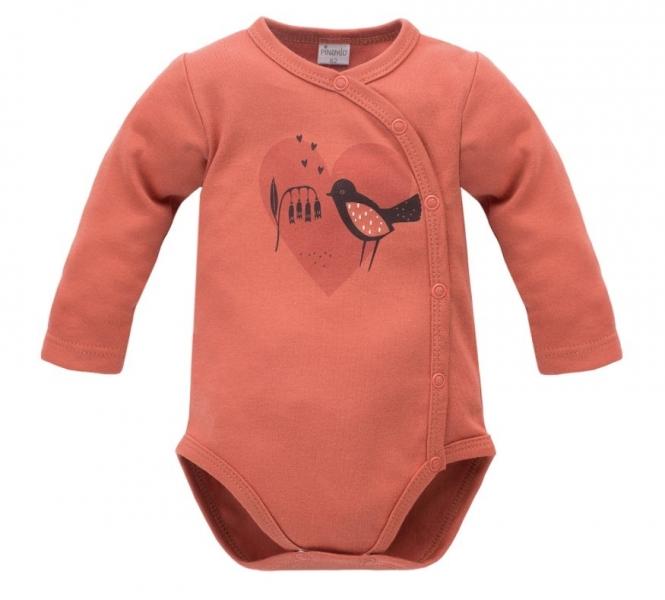 Pinokio Body dlhý rukáv, zapínanie bokom Little Bird - cihlové-#Velikost koj. oblečení;56 (1-2m)