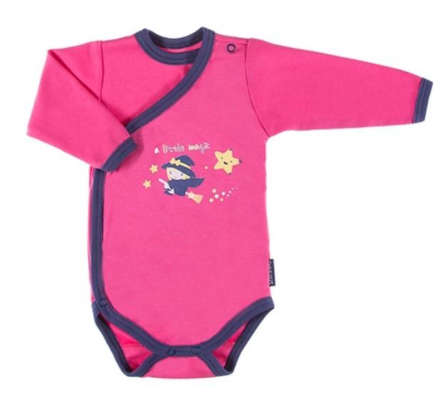 EEVI Dojčenské body dl. rukáv, zapínanie bokom Magic - ružové-#Velikost koj. oblečení;56 (1-2m)