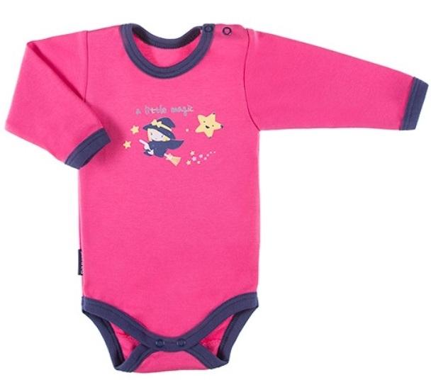 EEVI Dojčenské body dl. rukáv, zapínanie u krku Magic - ružové-#Velikost koj. oblečení;68 (4-6m)