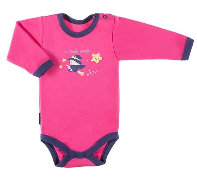 EEVI Dojčenské body dl. rukáv, zapínanie u krku Magic - ružové, veľ. 74-#Velikost koj. oblečení;74 (6-9m)