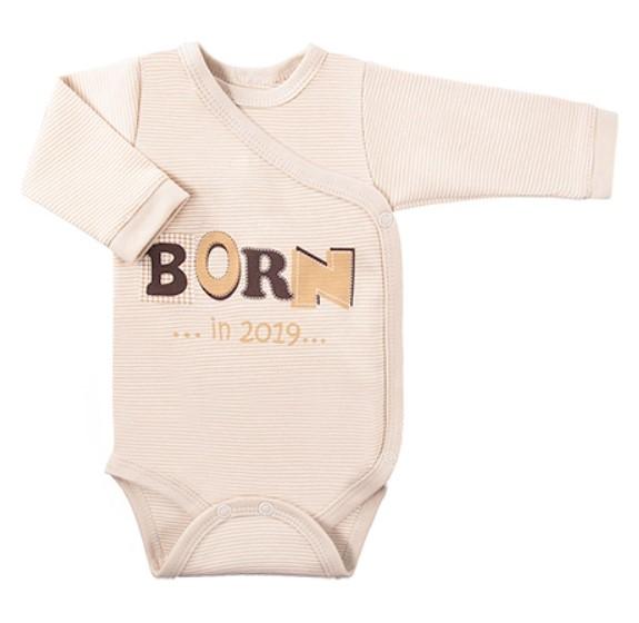 Dojčenské body dlhý rukáv, zapínanie bokom Happy Baby - bežové, veľ 50