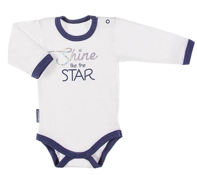 EEVI Dojčenské body dl. rukáv, zapínanie u krku Cosmos - bílé s modrým lemem, veľ. 74-#Velikost koj. oblečení;74 (6-9m)