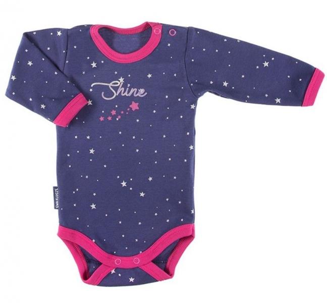 EEVI Dojčenské body dl. rukáv, zapínanie u krku Cosmos - Hvezdičky, granátové, veľ. 74-#Velikost koj. oblečení;74 (6-9m)