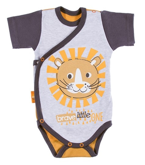 EEVI Dojčenské body Kr. rukáv, zapínanie bokom Africa - Lev, oranžová-#Velikost koj. oblečení;50 (0-1m)