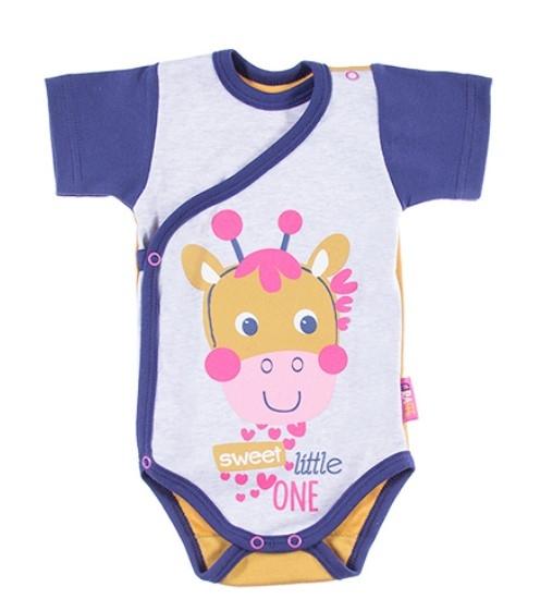 EEVI Dojčenské body Kr. rukáv, zapínanie bokom Africa - Žirafka, ružová-#Velikost koj. oblečení;50 (0-1m)