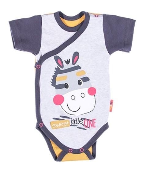 EEVI Dojčenské body Kr. rukáv, zapínanie bokom Africa - Zebra, sivá-#Velikost koj. oblečení;50 (0-1m)