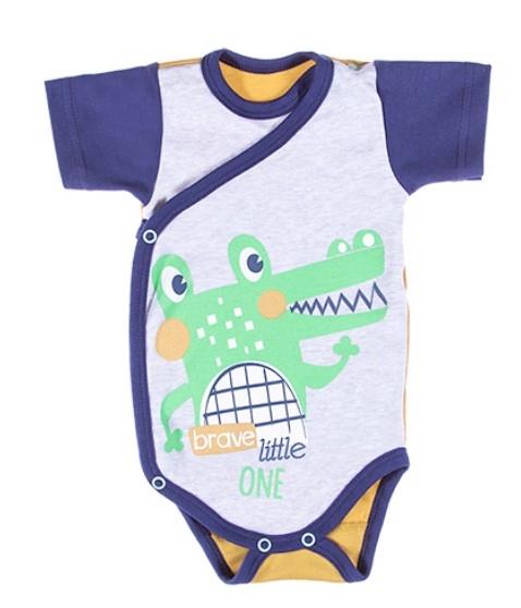EEVI Dojčenské body Kr. rukáv, zapínanie bokom Africa - Krokodýl, zelená-#Velikost koj. oblečení;50 (0-1m)