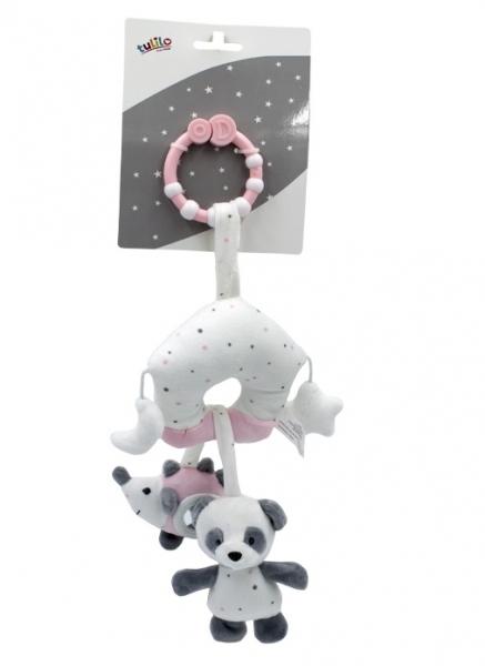 Tulilo Závesná plyšová hračka s rolničkou Macko Panda - ružový