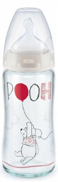 NUK Antikoliková sklenená fľaštička FIRST CHOICE Macko Pooh 0-6 m - sivá