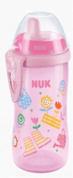 Fľaštička NUK KIDDY CUP - Záhrada, 300ml, 12m +, ružová