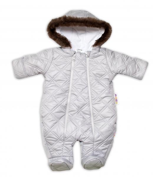 Kombinézka s kapucňu a kožešinou Lux Baby Nellys ®prošívaná - sv. sivá-#Velikost koj. oblečení;56 (1-2m)