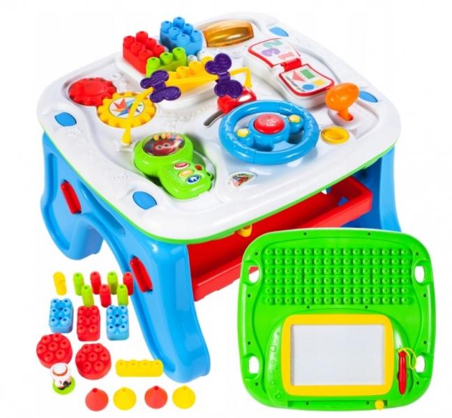 Tulimi Interaktívny stolček s mazací tabuĺkou , modrý