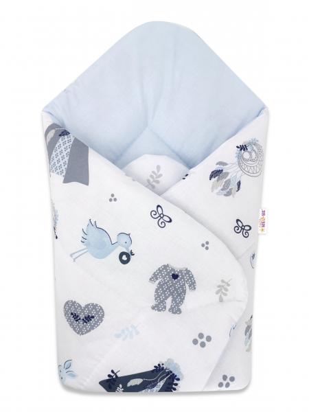 Bavlnená novorodenecká zavinovačka Baby Nellys, New Love Baby, 75x75cm, biela, modrá
