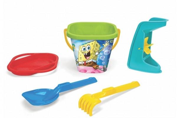 Sada na piesok 5ks Sponge Bob plast 3 druhy v sieťke 20x26x20cm 12m + Wader