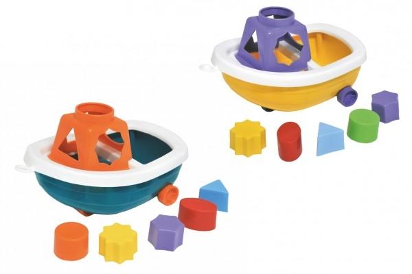 Loď / Čln na kolieskach + vkladačka plast 13x20cm 2 farby v sieťke 12m +