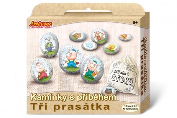 Maľovanie na štrk / kamene s príbehom Tri prasiatka kreatívne sada v krabičke 19x16x