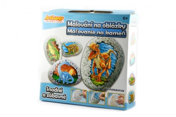 Maľovanie na štrk / kamene Dinosaurie vajcia kreatívne sada v krabičke 15x14,5x4cm