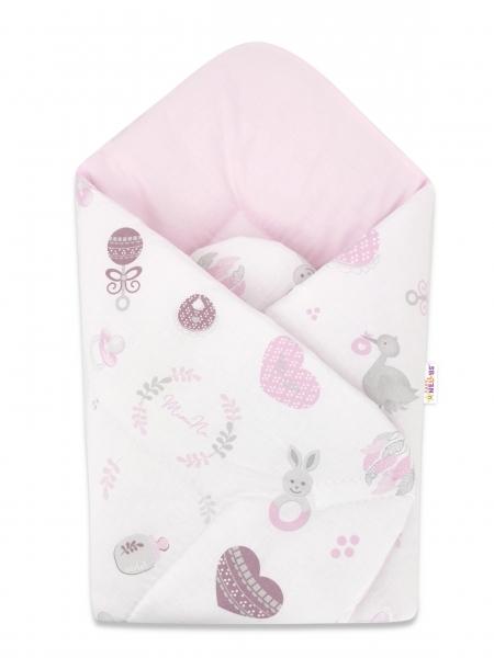 Bavlnená novorodenecká zavinovačka Baby Nellys, New Love Baby, 75x75cm, biela, ružová
