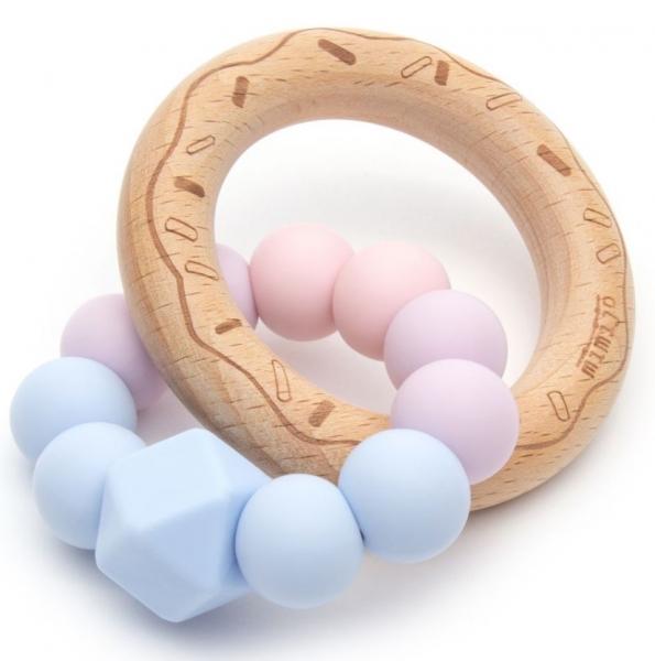 Mimijo Silikónové hryzátko Donut Love - ružovo/modrý