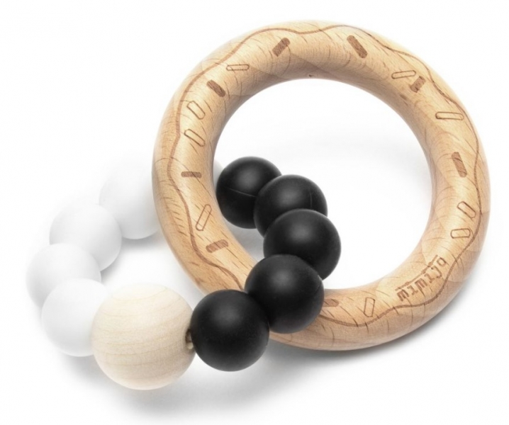 Mimijo Silikónové hryzátko Donut - bielo/černý