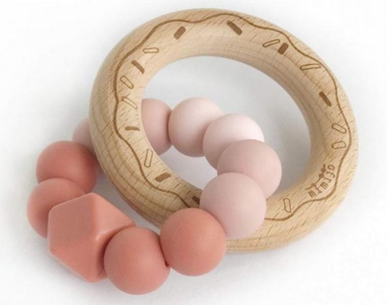 Mimijo Silikónové hryzátko Donut - ružové/pudrové