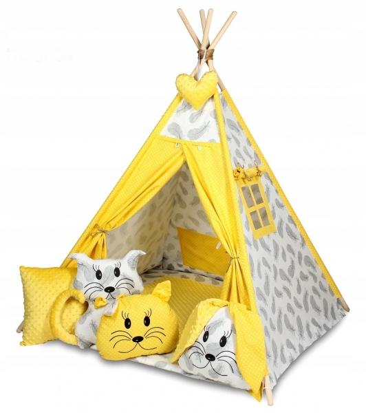 Baby Nellys Stan pro děti týpí s velkou výbavou, čtyři polštářky + podložka, šedá, žlutá