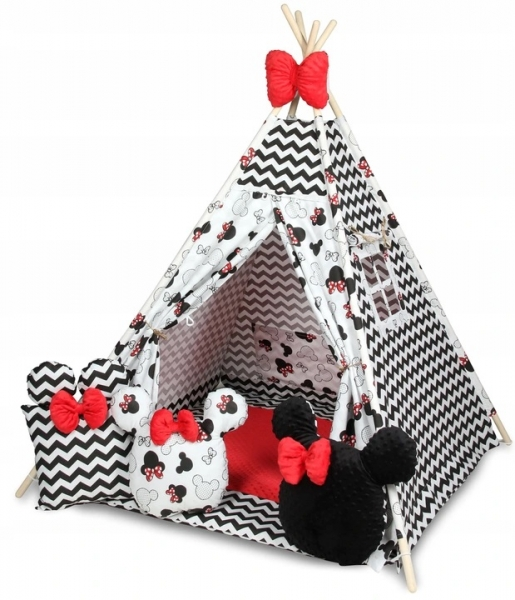 Baby Nellys Stan pro děti týpí s velkou výbavou, ZigZag, biela, čierna, červená