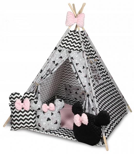 Baby Nellys Stan pro děti týpí s velkou výbavou, ZigZag, šedá, čierna, růžová