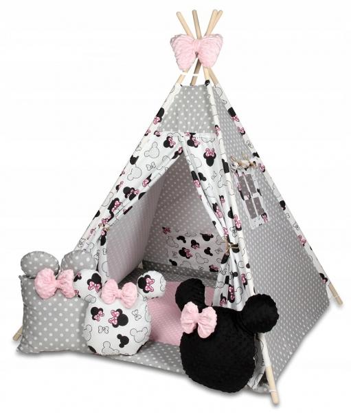 Baby Nellys Stan pro děti týpí s velkou výbavou, Minnie, biela, čierna, růžová