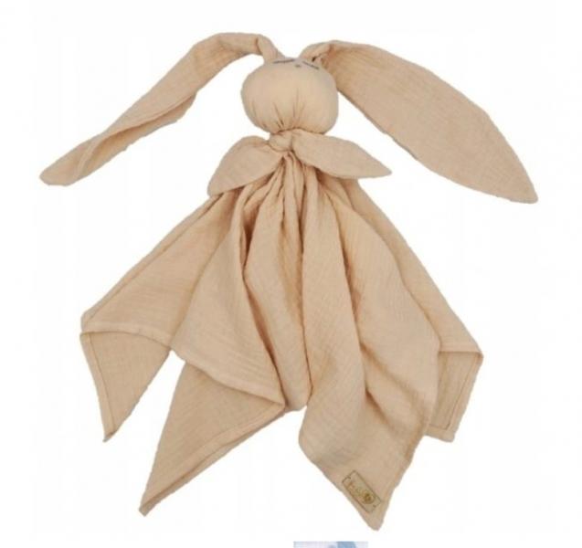 Hug Me Bunny Mušelínový maznáčik, plenka s oušky 65 x 60 cm, cappucino