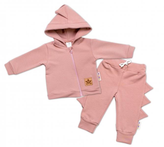 BABY NELLYS Detská tepláková súprava s kapucňou, Krokodíl - púdrová-#Velikost koj. oblečení;56 (1-2m)