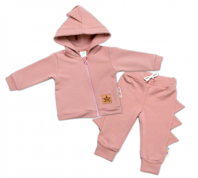 BABY NELLYS Detská tepláková súprava s kapucňou, Krokodíl - púdrová, veľ. 68-#Velikost koj. oblečení;68 (4-6m)