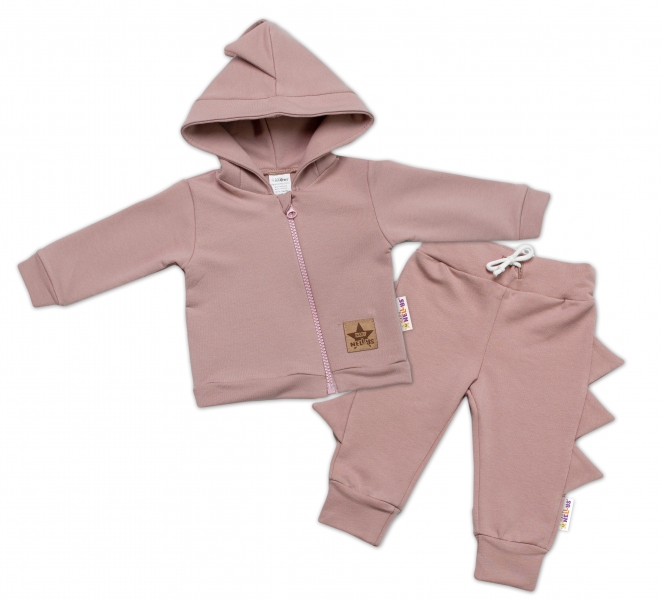 BABY NELLYS Detská tepláková súprava s kapucňou, Krokodíl - púdrová, veľ. 74-#Velikost koj. oblečení;74 (6-9m)