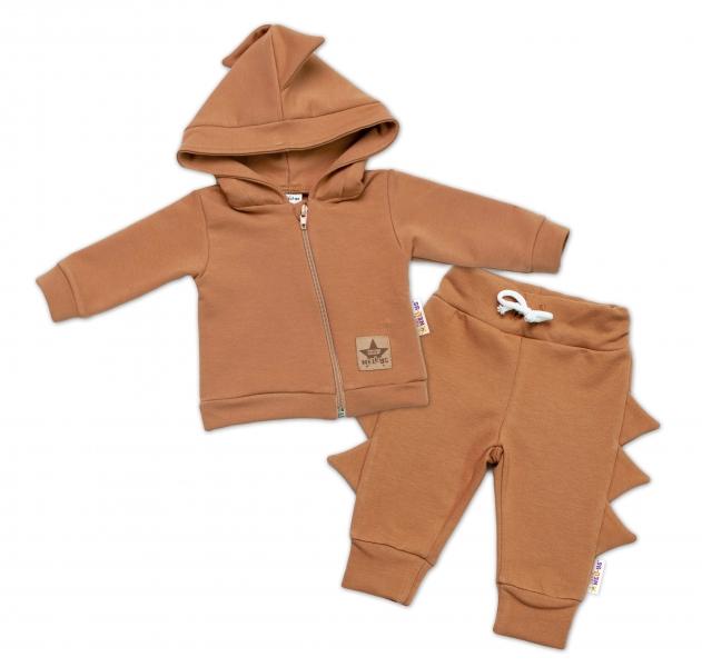 BABY NELLYS Detská tepláková súprava s kapucňou, Krokodíl - hnedá-#Velikost koj. oblečení;56 (1-2m)