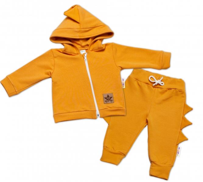 BABY NELLYS Detská tepláková súprava s kapucňou, Krokodíl - horčicová-#Velikost koj. oblečení;56 (1-2m)