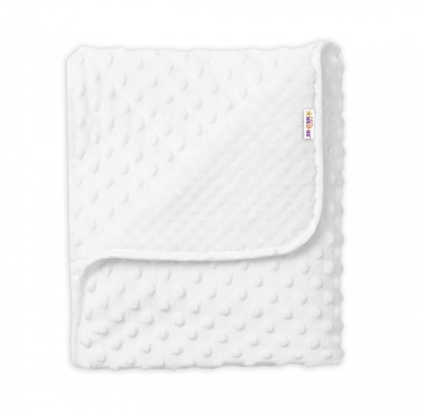 Baby Nellys Detská luxusná obojstranná deka s Minky 80x90 cm, biela
