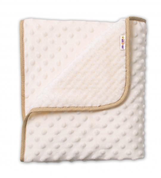 Baby Nellys Detská luxusná obojstranná deka s Minky 80x90 cm, béžová