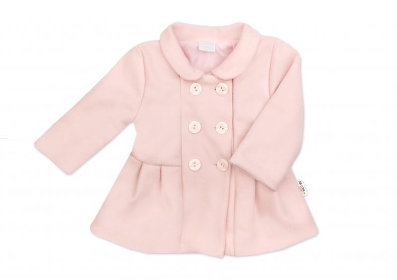 Baby Nellys Kojenecký flaušový kabátik, púdrovo ružový, veľ. 62