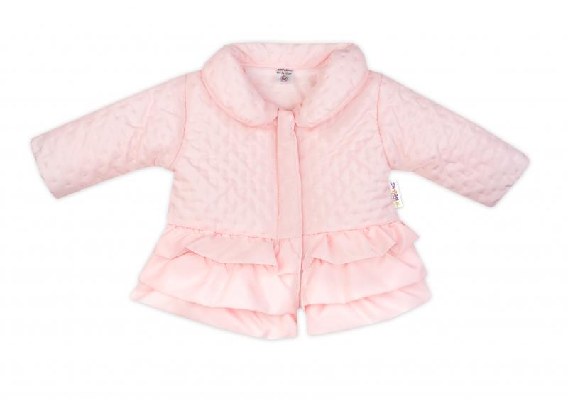 Baby Nellys Detská prechodová bundička s volánikmi, svetlo ružová, veľ. 98
