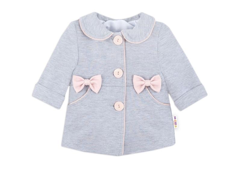 Baby Nellys Detský bavlnený kabátik s mašličkami, sivý, veľ. 98