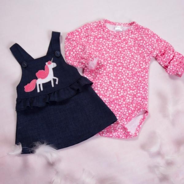 K-Baby Sada/Dojčenské body + sukňa na traky, džínsová