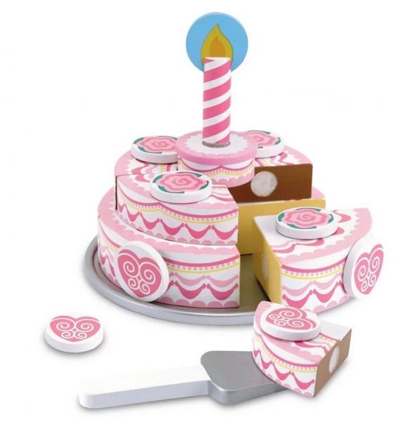 Melissa & Doug Dvojvrstvový drevený narodeninovú tortu na hranie, ružový